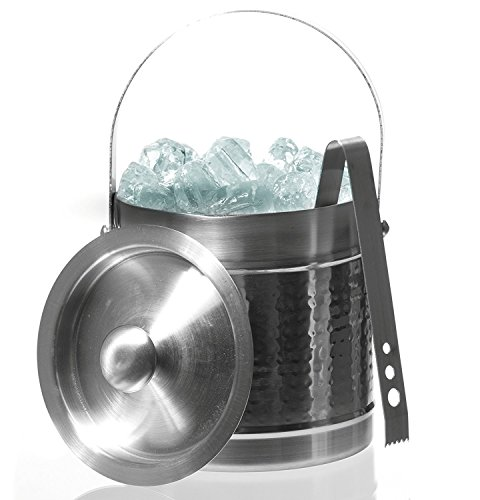 Stainless Steel Double Wall Ice Bucket With Tongs - Double Wall Ice Bucket by Imperial Home Stainless Steel Double Wall Ice