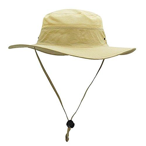 egoz 'Coconut' Draußen Sonnenhut Hut UV-Schutz Breitkrempiger Reisekappe Atmungsaktiv Jagd Fischen Safari Cowboy Hüte (Beige)