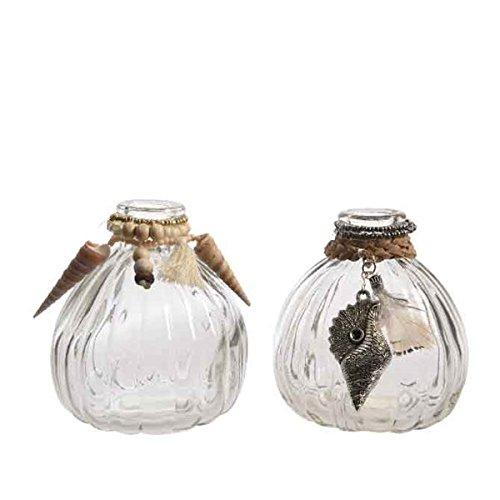 2 Blumenvase Glasvasen Blumen Vase Steckvase mit Ornamenten