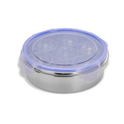sumeet luftdicht & auslaufsicher Edelstahl Masala (Spice) Box/Dabba/Organizer mit Schloss Deckel & 7Behälter und kleiner Löffel Größe Nr. 10(17cm Dia) (1.1Ltr Kapazität)