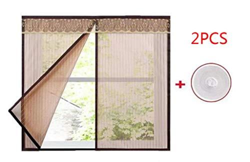 JLDN 2PCS Window Screen Mesh Curtain, magnetisch Automatisches Schließen Strapazierfähig Résistant à la déchirure, passend für mehrere Fenster,Brown_120x130CM