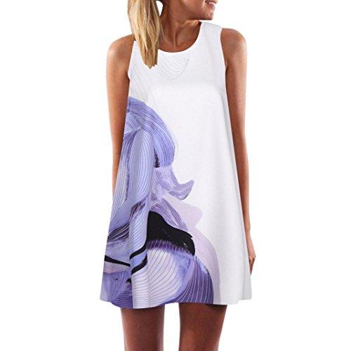 VEMOW Vintage Boho Frauen Sommerkleider Sleeveless Strand Gedruckt Kurzes Minikleid Eine Linie Abendkleid Täglich beiläufige Partei Weste T-Shirt Kleid Plus Size Rock(X1Weiß 8, EU-40/CN-S) (Caprihosen Size Plus Damen)