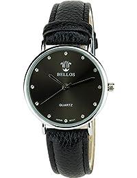 BELLOS - Damen Armbanduhrschwarz Quarz Stahl Analog Display Typ stilvoll - Sport Modus Armband schwarzKunstleder