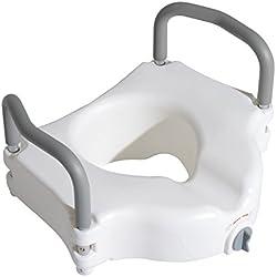Asiento de Inodoro Elevado con Apoyabrazos - Color Blanco - HDPE - 44.3x52x33cm