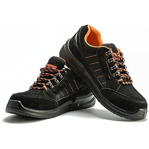 Botas Para Hombre De Seguridad Puntera De Acero Zapatos De Trabajo Senderismo Plantilla De Protección Unisex-adulto S1P CE aprobado Black Hammer