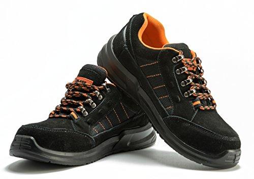 Männer Sicherheitsstiefel Stahlzehenkappe Arbeitsschuhe Fußgelenk Sportschuh Wanderschuh Schützende Zwischensohle UNISEX EN ISO 20345:2011 S1P Black Hammer 9952 (44 EU / 10 UK, Schwarz)