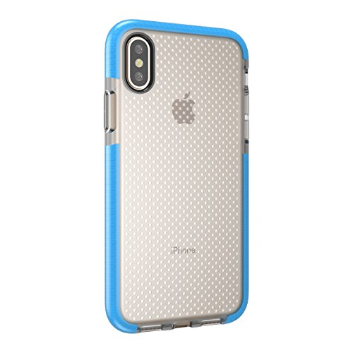 iPhone X Handycover, MOONMINI für iPhone X Transparent Tasche Case Hybrid Frame Ultra dünn Premium Anti-Kratzer Schutzschale Soft TPU Silikon Stoßfest Anti-Drop Schutzhülle Grau Blau