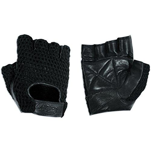 guanti biker A-Pro Guanti senza dita Biker in pelle morbida pelle bovina motociclo Punk Nero M