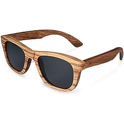 Navaris gafas de sol UV400 - Gafas de madera aspecto cebra para hombre y mujer - Gafas de sol polarizadas en diferentes colores - Color gris