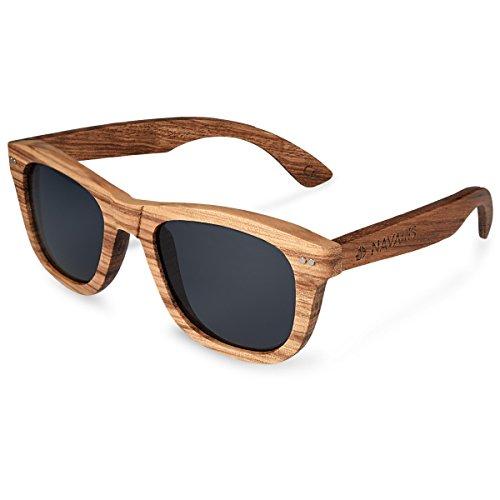 Navaris Holz Sonnenbrille UV400 - Unisex Damen Herren Brille mit Zebraholz - polarisierte Holzbrille...