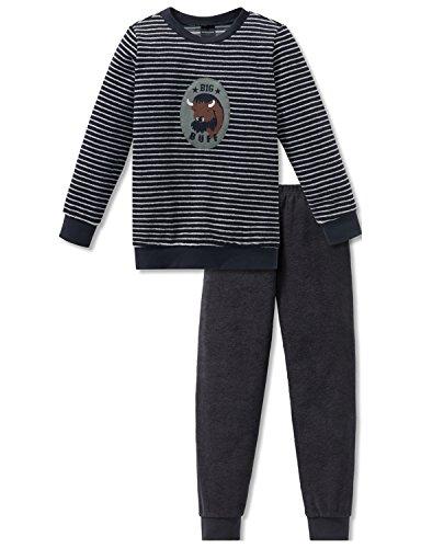 Schiesser Jungen Big Buff Kn Anzug lang Zweiteiliger Schlafanzug, Grau (Anthrazit 203), 128