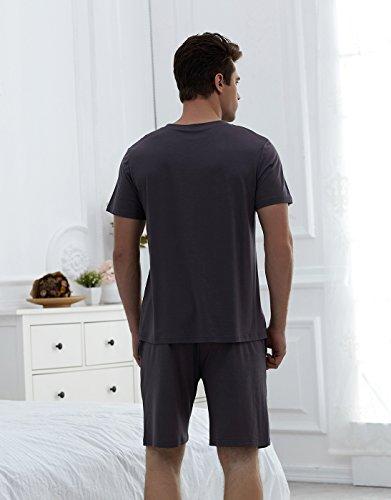 Ruishi Herren Baumwolle Shorty Schlafanzug Kurz Rundhals Pyjama Nachtwäsche Hausanzug, T-Shirt und Short 2-Teilig Set Gr. L-XXXL Braun