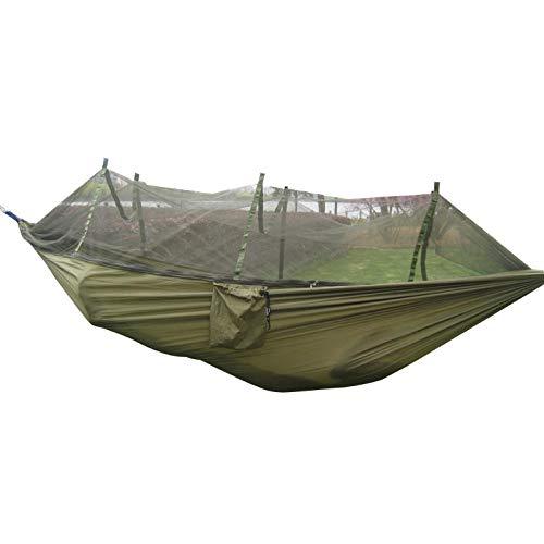 KHHFUO Camping Hängematte, Moskitonetz tragbare Outdoor Garten Reise Bett, Schaukel Leinwand gestreifte Hängematte, 260 * 130cm, Militär grün