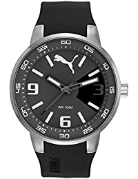 PUMA Road Precision Men's Quartz Watch with Grey Dial Analogue Display and Black Silicone Strap PU104171004