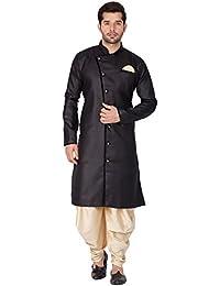 Vastramay Men Cotton Blend Sherwani Style Kurta Set (Black_VASMSW120GO)
