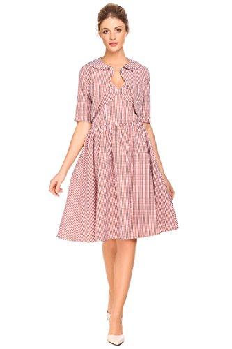 CHIGANT Damen Vintage Kleid A Linien V-Ausschnitt Ärmellos Plaid Retro Rockabilly Abendkleider Partykleider Cocktailkleider mit Bolero