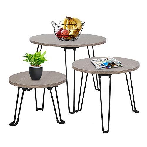 Cocoarm Set de 3 Mesas Nido Mesas Auxiliares Mesas de Café Mesas de Centro para Salón Mesita de Noche para Uso Interior y Exterior, No Requiere Ensamblaje