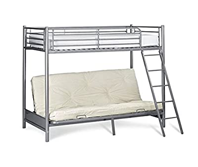 NEW Mika Children's Metal Bunk Bed with Futon (Frame Only) High Sleeper - Silver Bunkbed - low-cost UK light store.
