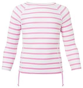 Snapper Rock Girl UPF 50+ UV Protection Striped Long Sleeve Swim Shirt For Kids & Teens Pink/White 1-2 years, 86-92cm