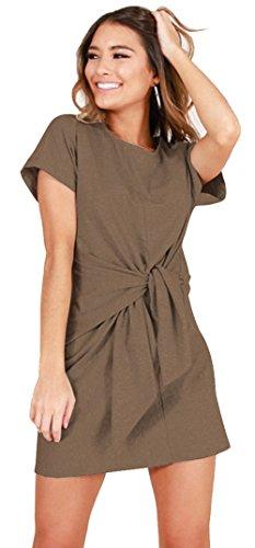 Longwu Damen Elegantes Kurzärmeliges Arbeitskleid Freizeit Bleistiftförmiges Kleid Khaki-XL