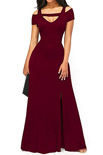 TOUVIE Damen Elegant Langes Abendkleid V-Ausschnitt Ballkleider Cocktailkleider Rot M