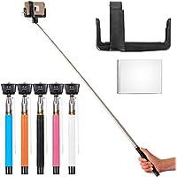 Nero Selfie Monopiede telescopico con shutter remote button + Phone Clamp Support + Mini specchietto retrovisore Per Apple iPhone 6 Plus/6/5/5C/5S/4S/4, Samsung Galaxy Note 4/3/2, S5/4/3, Blackberry, HTC, Sony, LG XC214
