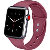 ATUP Bracelet Compatible pour Apple Watch 38mm 42mm 40mm 44mm, Bracelets de Remplacement en Silicone Souple pour iWatch Apple Watch Série 4, Série 3, Série 2, Série 1 (02 Vin Rouge, 38mm/40mm-S/M)