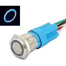 """SENZEAL Interruttore a pulsante momentaneo Acciaio inossidabile con LED a 12 V testa dell'occhio di angelo 16 mm foro di montaggio da 0,63"""" Blu"""