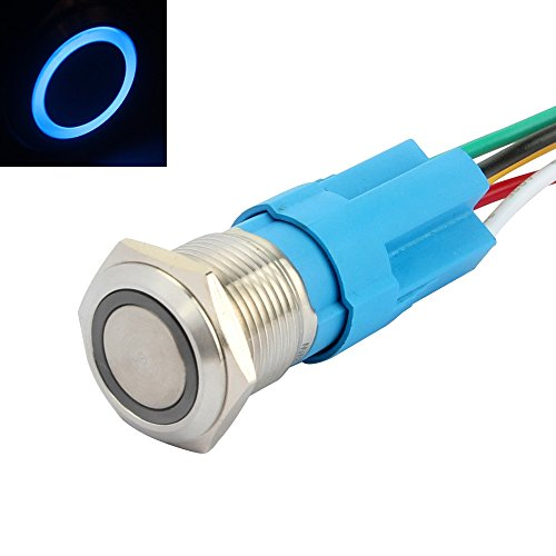 """SENZEAL Interruttore a Pulsante momentaneo Acciaio Inossidabile con LED a 12 V Testa dell\'occhio di Angelo 16 mm Foro di Montaggio da 0,63\""""Blu"""
