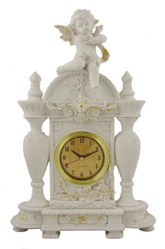 Kaminuhr Engel weiß mit vielen Details Tischuhr Antik Look Figuren Putten Uhr