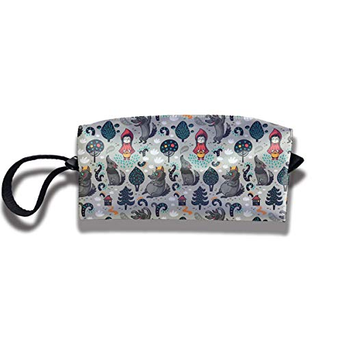 Little Red Riding Hood and Wolf Print Fashion Cosmetic Pouch Bag Storage Jewelry Pouch Travel Storage Package Pouch with Zipper
