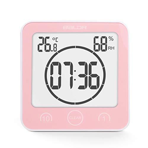 Ysoom Bad Wanduhr Dusche Uhr Wasserdicht mit LCD Display Luftfeuchtigkeit Temperatur, Countdown Timer, Berühren Tastensteuerung Wandbehang Freistehend (Pink) - Uhr Lcd Dusche
