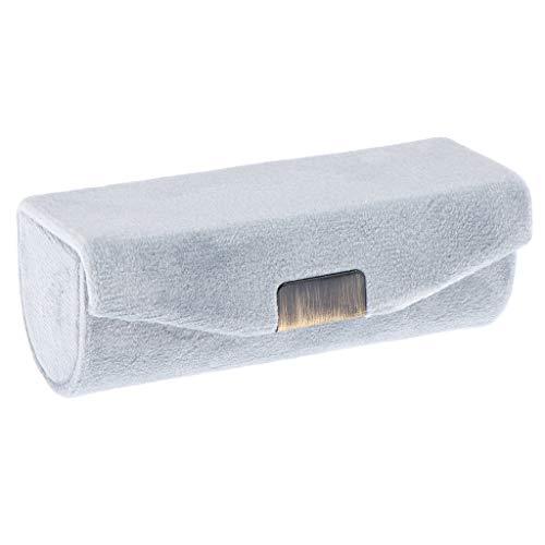 Fenteer Samt Lippenstiftbox/Etui mit Spiegel und Druckknopf - Grau