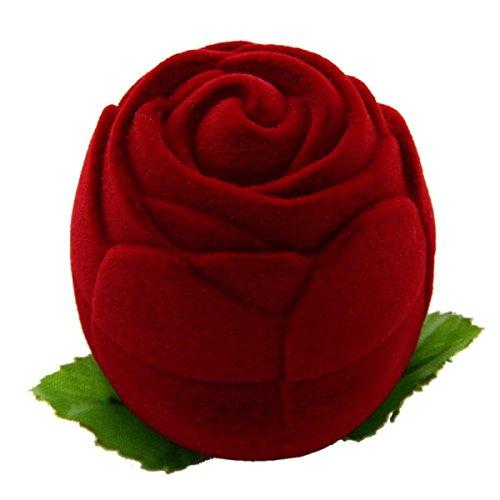 Cadillaps Coffret Cadeau Ecrin Boîte Flanelle Pour Bague De Mariage Fiançailles Présentoir Haut De Gamme Jour De Mariage Saint Valentin Rouge