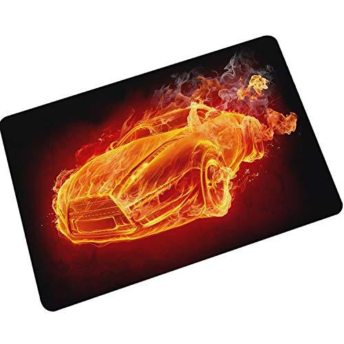 AMDXD Gummi Teppich Flame Auto Design Teppiche für Wohnzimmer Schlafzimmer Bunt 45x70CM