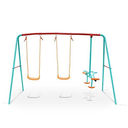 Yorbay Schaukel Kinderschaukel Gartenschaukel Schaukelgestell mit Brettschaukel, Tellerwippe, belastbar bis 135Kg, 4 Kinder gleichzeitig spielen(2xBrettschaukel mit Tellerwippe)