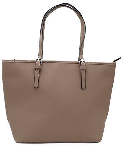 Borsa A Spalla Da Donna Shopper Shopper In Similpelle Tinta Unita Formato A4 Marrone