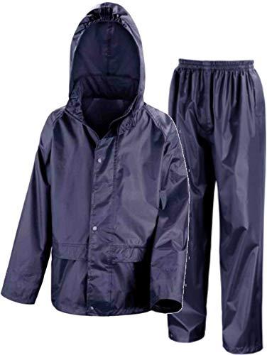 Kids Waterproof Jacket & Trousers Suit Set in Black, Navy Blue or Royal Blue Childs Childrens Boys Girls