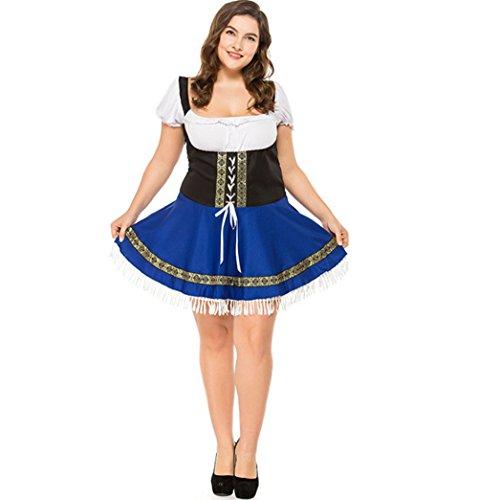 qingning Damen Oktoberfest Kleid Bier Party Dekoration Cosplay Kostüme Bekleidung Plus Szie Übergröße Sexy Kleid (1, XXXX-Large)