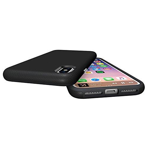 iPhone X 10 Hülle ZaPro® Deutschland Qualitätsgeprüft – Erhältlich in 4 Farben   Perfekter Grip durch Rutschfestes Design   Schmutzabweisend   Simpel & Elegant   Kanten- & Fallschutz ! (Schwarz) Schwarz