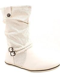 Flache Damen Schlupfstiefel bequeme Stiefel Boots