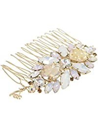 Hair Drama Company Hair Comb Golden Crystals Hair Accessories Party Wear For Women and Girls