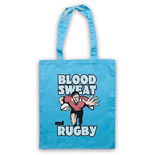 Blood Sweat And Rugby Rugby Slogan Umhangetaschen Hellblau