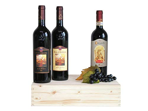 Regalo Vini Toscani Banfi in Cassetta Legno - 3 Bottiglie - Confezioni Regalo Vini Pregiati Per Occasioni Importanti - Cod. 259