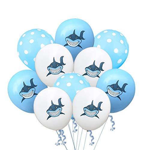 Bestoyard 10pcs palloncini in lattice cute colorful shark modello palloncini decorazione per festa di compleanno (bianco + azzurro + light blue dot)
