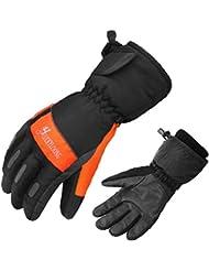 Esquí de mantener caliente frío guantes cuero puro cachemir cálido forro al aire libre par guantes , 1