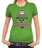 ShirtStreet Gaudi Wiesn Damen Frauen T-Shirt Rundhals Dirndl Brauch Ich Nicht! Bin Zum Saufen Hier, Größe: L,apfelgrün