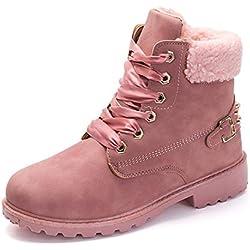 Botas Nieve Mujer Otoño Invierno Calentar Piel Forro Botines Retro Snow Boots Cordones Zapatillas Planas Rosa 39