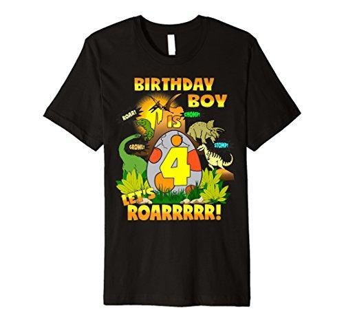 Boys Dinosaur Birthday Shirt Age 4 Party Theme Outfit