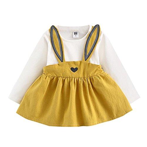 Robe de Bébé de Fille, Internet Manches Longues Robe Mince de Lapin Mignonne - Coton - Pour 0-3 Ans (3-6 Mois, Jaune)